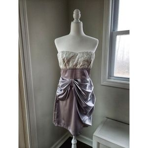 NWOT Teeze Me Silver Strapless Dress
